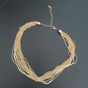 Gold multichain necklace